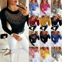 Women Lace Long Sleeve Blouse Ladies Hollow Out Slim Fit Casual Blouse T-Shirt
