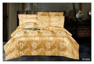 Gold Jacquard Duvet Cover set Silk Bedding Set with Fitted sheet and Pillowcase