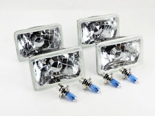 "FOUR 4x6"" Halogen Semi Sealed H4 Crystal Clear Glass Headlights Conversion Bulbs"