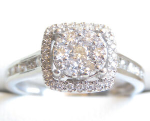 Genuine 0.50ct Diamond Cluster Ring 9K White Gold