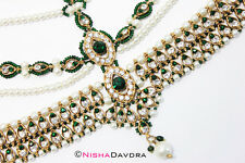 Green Matthapatti Damini Headpiece Jhoomar Hijab Head Wedding Bridal Indian