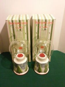 2 Vtg Towle Company Christmas Tree Hurricane Lamps In Original Boxes MCMLXXXIV