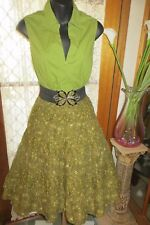 VINTAGE Style 50'S ~ Green TOP/Tiered SKIRT/BELT COMBO  * Sz 10/12 * ROCKABILLY*