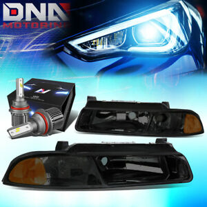 FOR 1995-2000 CHRYSLER CIRRUS HEADLIGHT LAMPS W/LED KIT+COOL FAN SMOKED/AMBER