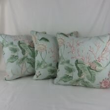 Sanderson Mauritius Fabric Cushion Covers 3 Shabby Chic Blue Pink Shell Coral