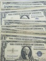 1935/1957 One Dollar Bill Silver Certificate Circulatrd Blue Seal LOT OF 10