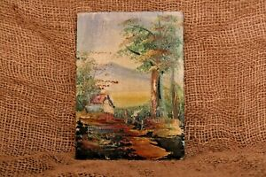 Antique Painting Landscape painting Home, countryside and iceberg, Art Original