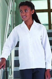 Banner Girls School Uniform Open Neck Revere Collar Blouse Long Sleeve Twin Pack