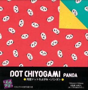 "Japanese Origami Folding Paper 6"" Dot Chiyogami Panda 2-Sided 6 Color 36 Sheets"