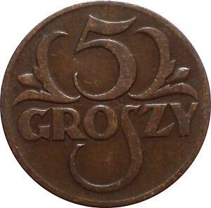WCA Poland 5 Groszy 1934 - Key Date , Low Mintage   Lot # M37