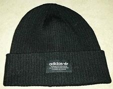 NWT Womens Adidas Ribbed Beanie Hat Toboggan Stretch Knit Black White One Size