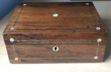 Antique Rosewood Sewing Box With Mother Of Pearl Inlay & Pewter Stringi