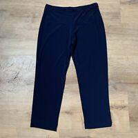 Clara Sun Woo Size M Navy Blue Capri Crop Pants Pull On Elastic Waist