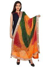 Women Bandhej Silk Dupatta Tippet Scarf Traditional Wear
