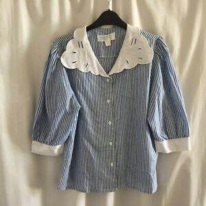Vintage Blouse, Puff Sleeve, Large Collar, Cottage Core