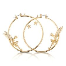 DISNEY Couture Placcati In Oro & Crystal TINKERBELL & STAR Hoop Orecchini