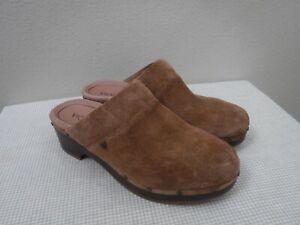 VIONIC KACIE 9 41 Brown Suede Leather Studded Slip On Clogs Mules Slides Heels