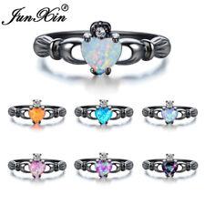Irish Claddagh Heart Cut Fire Opal CZ Black Gold Wedding Ring For Women Sz 5-11