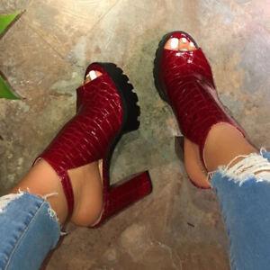Women's Platform Sandals Peep Toe Slingback High Block Heels Ankle Strappy Shoes