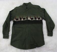 Woolrich Mens Olive Green Cotton Deer Long Sleeve Button Front Shirt Sz Medium M