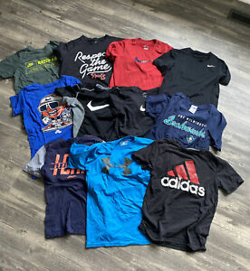 Lot of 11 Youth Boys Medium Shirts Nike Dri-Fit Adidas Under Armour