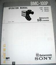SONY BMC-100P Betamovie Video Camera Operation Manual (Schaltungsbeschreibung)