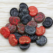 **PICK YOUR COLOR** 10pcs 17X13mm PICASSO NAUTILUS CZECH GLASS BEADS