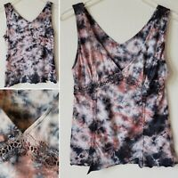 Kate Landry Women's Top Blouse Step Hem Tie Dye Size Medium Halter Sleeveless