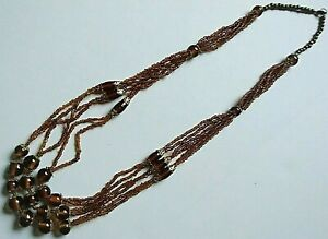 Handmade Necklace Amber Glass Beads Gold-Tone Accents Barrel Clasp