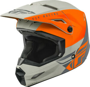 Fly Racing Kinetic Straight Edge Youth Medium Helmet Matte Orange/Grey 73-8638YM