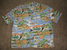 PUSSERS WEST INDIES HAWAIIAN SHIRT HULA GIRLS COCONUT BUTTONS TROPICAL FISH Sz L
