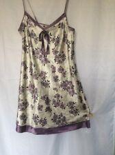 Per Una 18 Silky Polyester Chemise Nightie Slip White/Purple Strappy