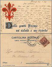 Dalla gentil firenze un saluto e un ricordo, groffata, viaggiata 1908