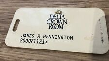 Vintage Delta Airlines Crown Room Plastic Luggage Tag RARE