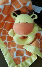 Carters Orange Giraffe Rattle Lovey yellow satin trim Security Blanket lovie
