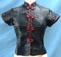 Classic Asian Brocade Blouse Cap Sleeves - Black Dragon / Red Piping - Size S