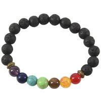 5X(7 Chakra Healing Armband Schwarz Lava Perlen Reiki Buddha Gebet Stein HeS9G8)