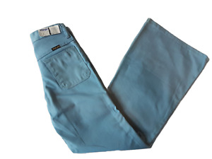 VINTAGE 70S WRANGLER BLUE COTTON TWILL FLARED FLARES TROUSERS-26 WAIST-NEW