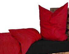 Bettwäsche Renforce Baumwolle 135x200 Kissenbezug 80x80 UNI Einfarbig Rot
