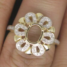 Fit Oval Cut 6×8mm Stone Solid 14K Yellow Gold Natural Diamond Semi Mount Ring