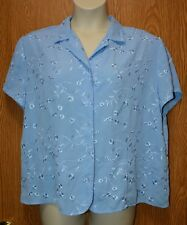 Womens Pretty Blue Embroidered Apparenza Sleeve Shirt Size 22W excellent