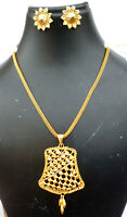 Indian 22K Gold Plated 12 Inch Long Fashion Weddings Necklace Pendant Set K