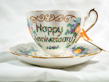 Vintage Princess Anne Happy Anniversary Teacup and Saucer, Remembrance Series