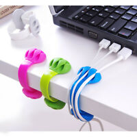 Desk Tidy Organiser Cable Drop Clip Wire Cord Lead USB Charger Holder Fixe New