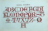 1865 Ornamental Alfabeto Estampado ~ 14th Siglo Británico Museo