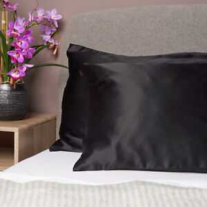 100% Pure and Organic Mulberry Silk Pillow Case - 19 Momme Ebony Black
