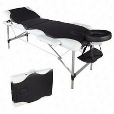 3-Fold Facial Spa Massage Table Beauty Bed Tattoo Black w/ White Edge 60cm Wide