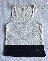 J. Crew Women's Colorblock Sequin Tank Top Small Black Cream Embellished