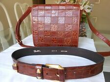 ENZO ANGIOLINI Women's Brown Leather Shoulder Crossbody Bag (Italy) and Belt
