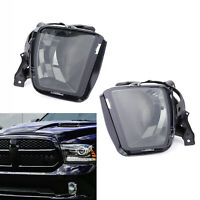 Pair Truck Bumper Fog Light Lamps With Bulbs For 2013-2018 RAM 1500 Pickup BLK